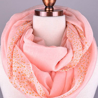 Flower Border Infinity Scarf