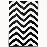 Recycled Plastic Indoor/Outdoor Rug - 3' x 5' Black Chevron - outdoor living - house & home