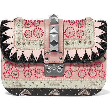 Valentino - Lock medium embellished leather shoulder bag