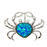 INLAY OPAL HAWAIIAN CRAB SOLID 925 STERLING SILVER SLIDE PENDANT RHODIUM