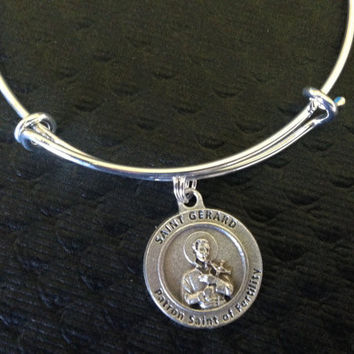Saint Gerard Patron Saint of Fertility Silver Expandable Bangle Double Sided Adjustable Bracelet