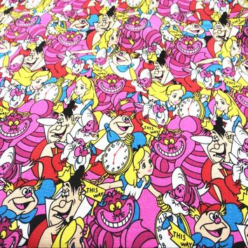 Cotton Canvas Fabric 90 * 143cm Alice in Wonderland printed cartoon picture DIY handmade patchwork children Shoe school curtain