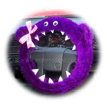 Fuzzy Purple faux fur monster car steering wheel cover with cute pink bow