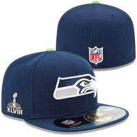 New Era Seattle Seahawks Super Bowl XLVIII On-Field Side Patch Youth 59FIFTY Fitted Performance Hat - College Navy