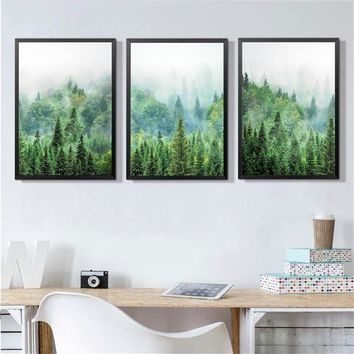 Scandinavian Forest Photography Wall art Canvas Painting , Pine Forest Art Prints Wilderness Poster Woodland Nature Wall Decor