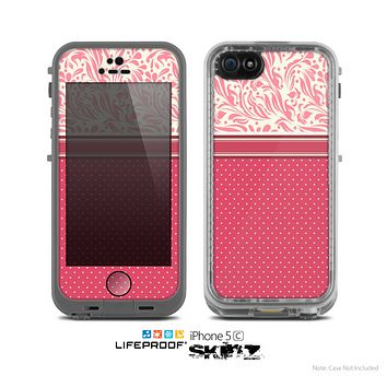 The Hot Pink Swirly Pattern with Polka Dots Skin for the Apple iPhone 5c LifeProof Case