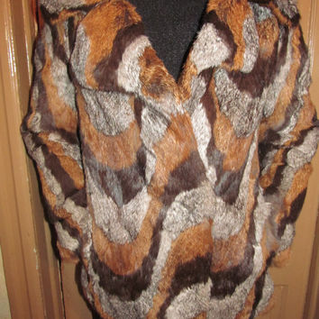 Vintage 1970s  Rabbit Fur Jacket ,made in Germany ,with a  EXOTIC ,EDGY and BOLD Abstract Pattern.