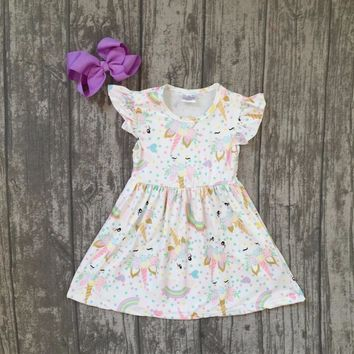new summer cotton milk silk baby girls kids boutique clothes dress short sets unicorn rainbow ruffles with matching accessories