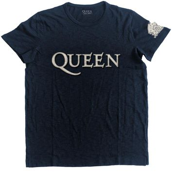 Queen Men's  Logo & Crest Vintage T-shirt Navy