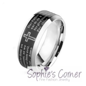 Laser Etched 'The Lords Prayer' Stainless Steel Wedding Band