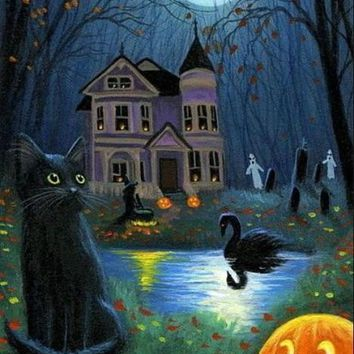 5D Diamond Painting Black Swan Haunted House Kit