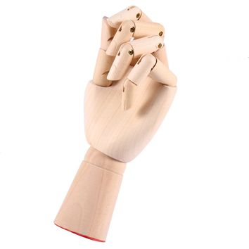 "NEW 1pcs Modle Left Hand 7"" 18CM Wood Crafts painting Wood Figure joint Wooden Cartoon Hand for Mannequin Decoration"