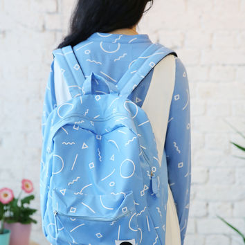 Canvas Backpack Graphic Print