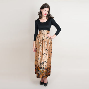 1970s Cats Novelty Print Evening Dress - 70s Black & Gold Night Dress with Moon and Stars - XS