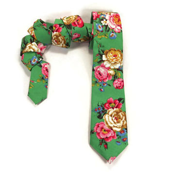 Sea Green Floral Skinny tie, light green, bright pink, yellow gold, mens narrow tie, leaf green, pink rose. mens rose tie, sea foam green