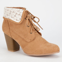 Qupid Sake Womens Booties Tan  In Sizes