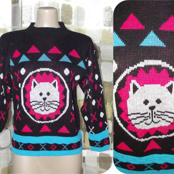 Vintage 80s Sweater | 80s Novelty Sweater | Big Cat Kawaii Lion | Crazy 80s Sweater | Knit Pullover Jumper | JJ Poole | Adult Small Kids XL