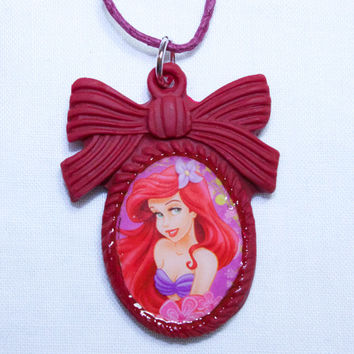 disney ARIEL cameo necklace with hemp cord