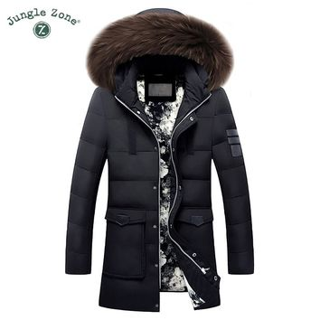 Trendy Men's Duck Down Jacket Plus Size Winter White Duck Down Jackets XXL XXXL Zipper Coat Natural fur collar Warm Clothing Overcoat AT_94_13