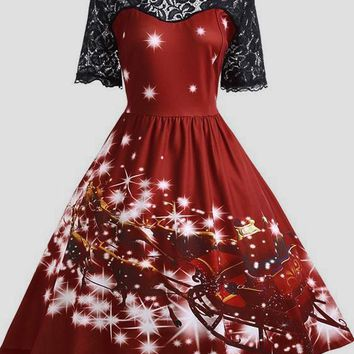 Wine Red Floral Print Lace Draped Short Sleeve Christmas Vintage Skater Midi Dress