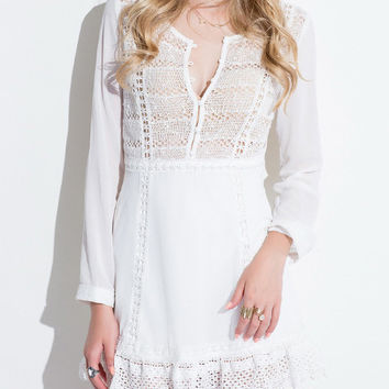 White V-Neck Long Sleeve Cut-Out Lace Mini Dress