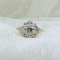 1920's two tone filigree engagement ring
