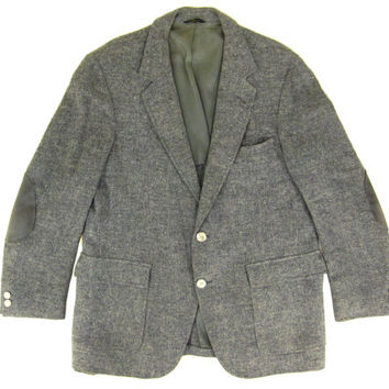 Vintage Grey Tweed Blazer with Elbow Patches - Sport Coat Jacket Preppy Ivy League Menswear - Men's Size 43 Large Lrg L