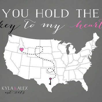 You Hold the Key to my Heart - 8x10 Personalized Map Art Print, Heart and Key, Lock, Lovers - Long Distance Relationship, Gift for Fiance