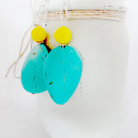 #TurquoiseEarrings #BlueEarrings #YellowEarrings #SummerJewelry #SummerEarrings