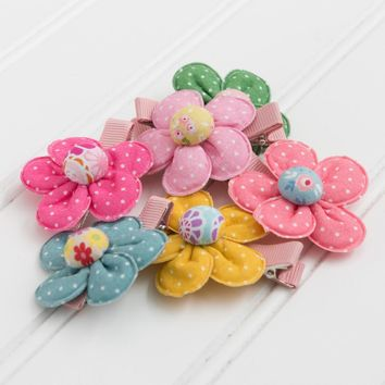 Sweet Polkadot Flower Hair Clips by Little Pink