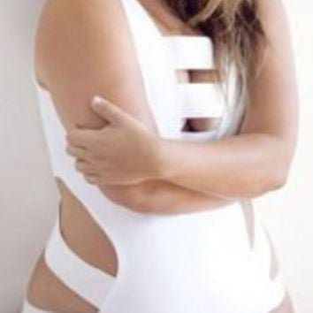 Plus Size Cut Out Elastic One-Piece Swimsuit