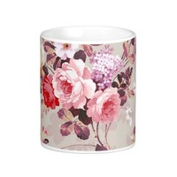 Vintage Elegant Pink Red Purple Roses Pattern Coffee Mug