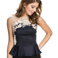 Navy Blue Short Sleeve Peplum Top with White Floral Lace Accent