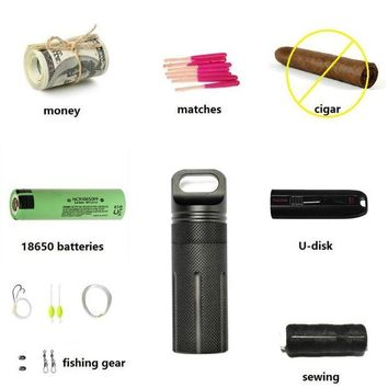 DCCK7N3 OneTigris Capsule Sealed Bottle Waterproof Pill Case EDC Container for 18650 Batteries Fishing Camping Hiking Emergency Kit