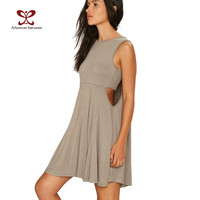 A Forever New Summer 2017 Women Dress Camisole O-Neck Waist Sexy Hollow Sleeveless Solid Pleated Women Casual Dress vestido 1133