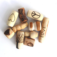 Superduper wooden bead set: 10 wooden beads superdeluxe, wooden bead set, dread bead with burned and unique beads for dreads