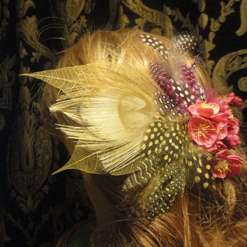 Golden Ivory Peacock Feather with Pink Sakura Cherry by ayasuki