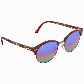 Ray Ban Clubround Blue Rainbow Flash Round Sunglasses RB4246 222C2E 51