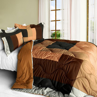 Cassiel Quilted Patchwork Down Alternative Comforter Set in Full/Queen Size