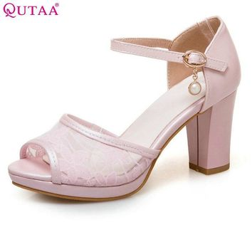 QUTAA 2017 Women Pumps Square High Heel PU Leather String Bead Ankle Strap Peep Toe Wh