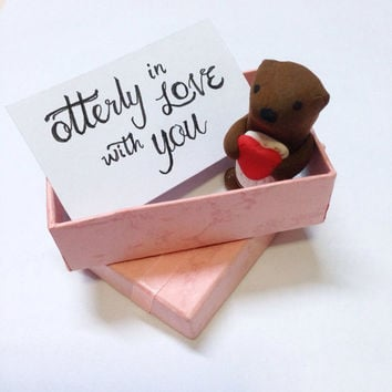 Otterly in love with you Valentine's day gift, Cute Otter Figurine, Otter love, otter valentine's day, sea otter, wedding anniversary