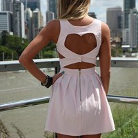 Baby Pink Heart Cut Out Dress back heart cut out detail from xeniaeboutique