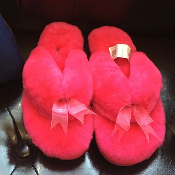UGG Winter Keep Warm Wool Bow Slipper Shoes
