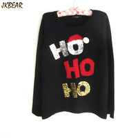 New-arriving Ugly Christmas Sweaters for Women HO HO HO Wearing Christmas Hat Pattern S-XL