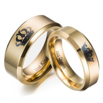 Gold colour King And Queen Stainless Steel Crown Couple Rings Gold Rings For Couples Lovers Love Promise Rings For Men Women