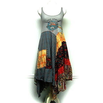 Small Hippie Boho Dress, Funky Artsy Festival Dress, Free Spirit Long Spring Summer Bohemian Dress, Upcycled Clothing by Primitive Fringe