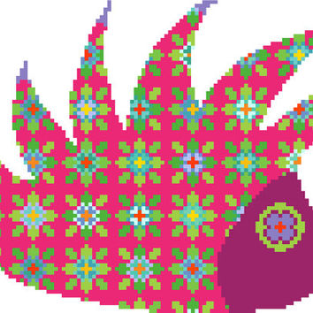 Happy hippie hedgehog. Contemporary cross stitch pattern. Modern cross stitch design. Floral cross stitch.