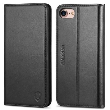 DCK4S2 iPhone 8 Case, iPhone 7 Case, SHIELDON iPhone 7 Wallet Case Genuine Leather Premium [Card Holder] [Book Design] Magnetic Closure Stand Flip Protective Cover Case for Apple iPhone 8 / iPhone 7 - Black