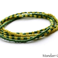 Yellow and Green Seed Bead Stretch Bracelets, Set of Five Stackable Bracelets, 7 Inch Stretch Jewelry, Gift for Her