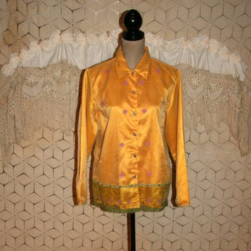 Saffron Yellow Blouse Ethnic India Tunic Shirt Embroidered Large Satin Chiffon Long Sleeve Button Up Size 12 Size 14 Vintage Womens Clothing